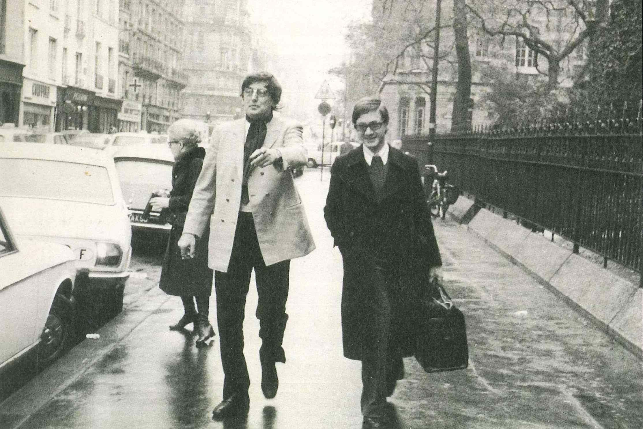 """André Franquin et Jacques Glénat-Guttin, photo reprise dans """"Glénat, 30 ans d'édition"""" (1990) par Paul Herman"""