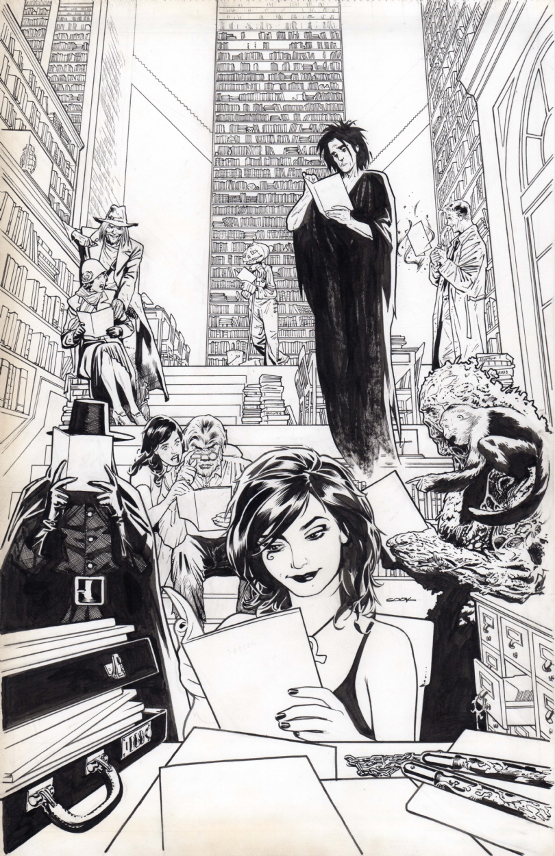 "Ryan Sook's original art for ""Vertigo Essentials"" cover"